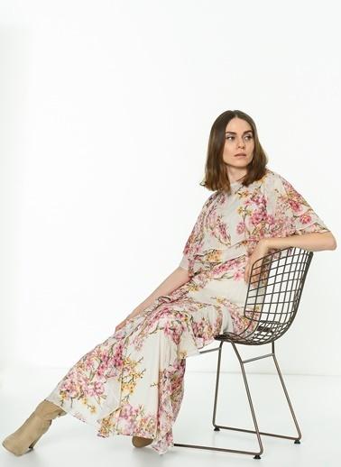 Koton Askılı Çiçekli Uzun Elbise Fuşya